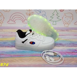 Детские кроссовки белые светящиеся с подсветкой Led 26-31р