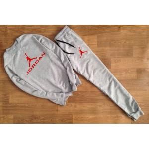 """Серый костюм Jordan (красное лого) """""""" В стиле Jordan """"""""0561"""