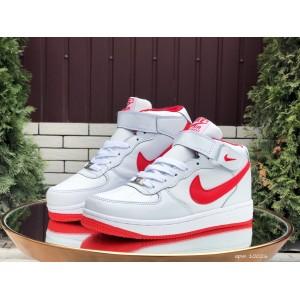 Высокие зимние женские,подростковые, кроссовки Nike Air Force,белые с красным
