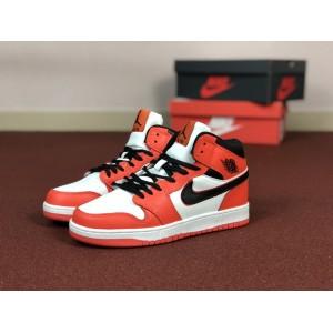 Мужские кроссовки Nike Air Jordan 1 Retro,оранжевые с белым