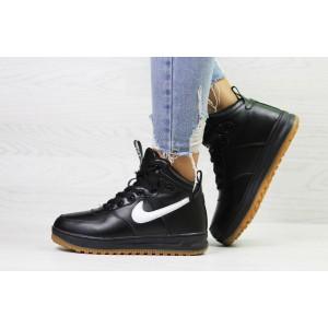 Зимние высокие кроссовки Nike Air Force LF- 1,черно-белые