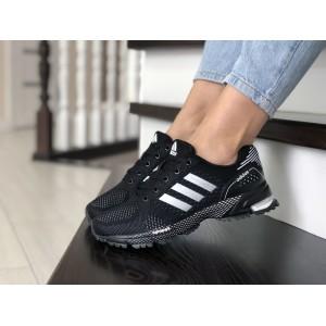 Подростковые (женские) летние кроссовки Adidas Marathon,черно-белые
