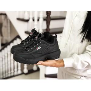 Модные женские зимние кроссовки Fila,черные (2019)