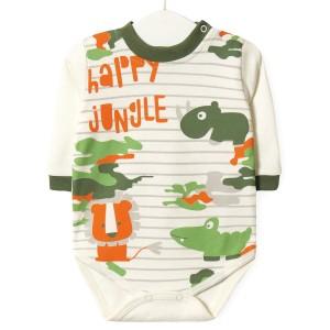 Боди детский Счастливые джунгли, зеленый Twetoon
