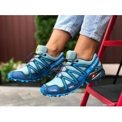 Женские, подростковые кроссовки Salomon Speedcross 3,мятные с синим,кроссовки для бега