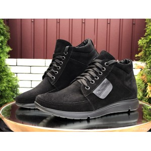 Мужские зимние замшевые ботинки (полуботинки) VanKristi Black,на меху