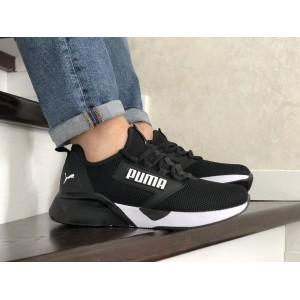 Весенние мужские кроссовки Puma,текстиль, черно белые
