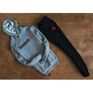 """Трикотажный костюм REEBOK серый свитшот с капюшоном (мелкое лого) """""""" В стиле Reebok """""""" 1267"""