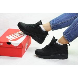 Подростковые зимние кроссовки Nike Huarache,черные,на меху