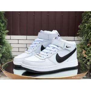Высокие зимние женские,подростковые, кроссовки Nike Air Force,белые с черным