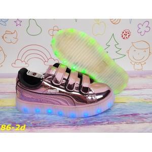Детские светящиеся кроссовки Пума с подсветкой Led подростковые 31-36р