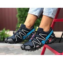 Женские, подростковые кроссовки Salomon Speedcross 3,черные с белым, кроссовки для бега