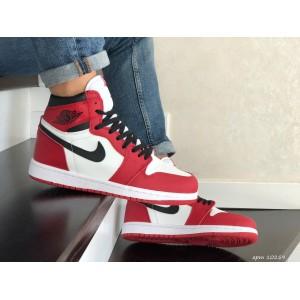Кроссовки Nike Air Jordan,красные с белым.