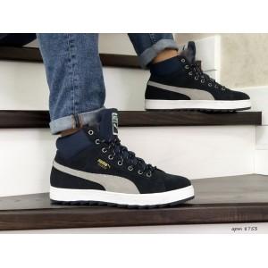 Высокие зимние замшевые кроссовки Puma Suede,темно синие