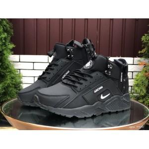 Мужские зимние кроссовки Nike Huarache,черные с белым