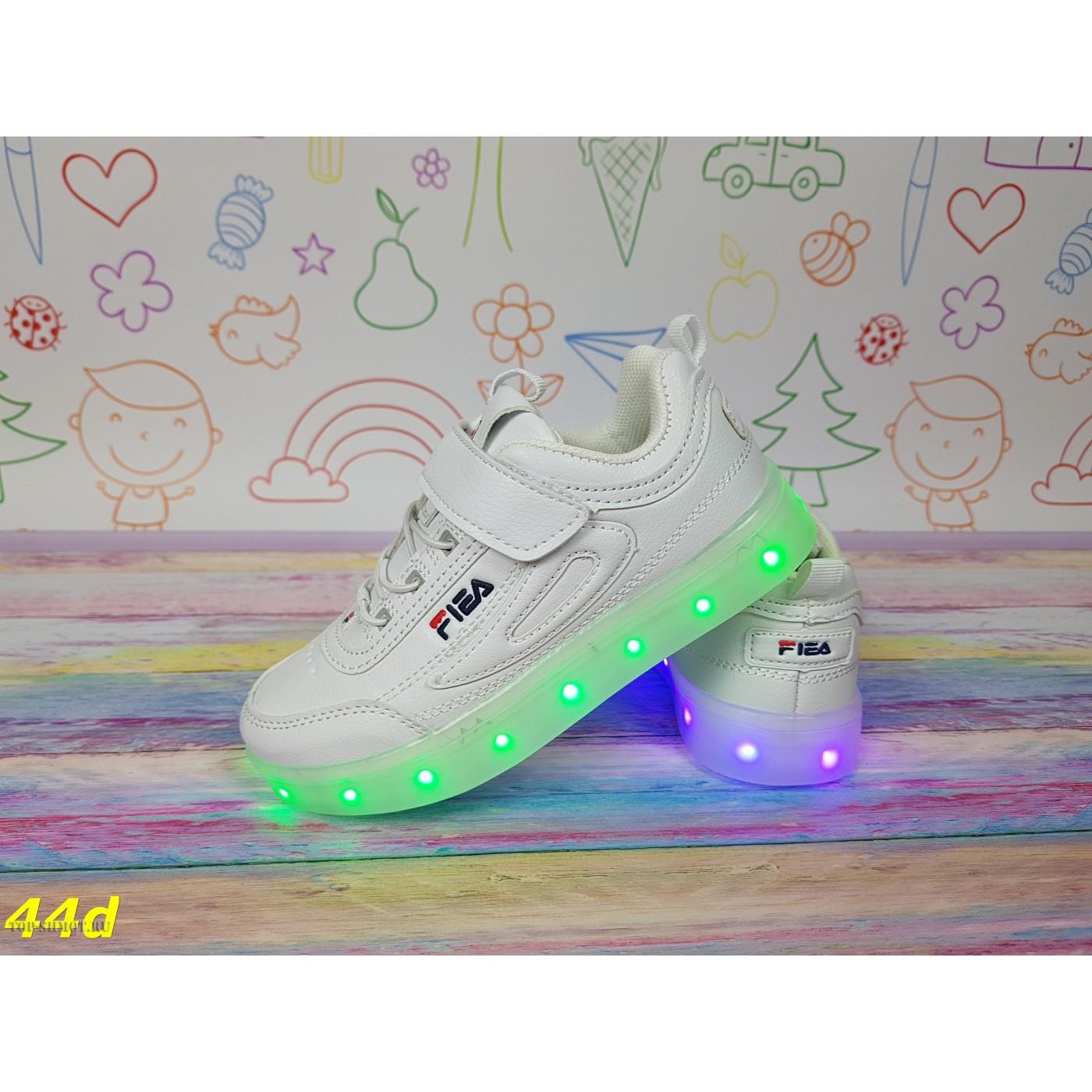 2ff611f5 Детские кроссовки белые фила светящиеся с подсветкой Led маленькие размеры