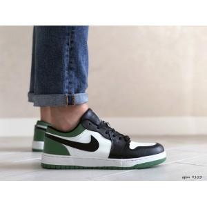 Мужские весенние кроссовки Nike Air Jordan 1 Low, черно белые с зеленым