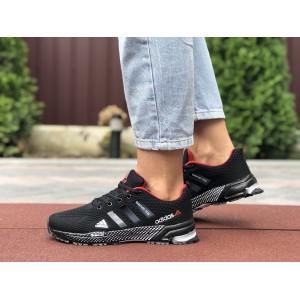 Подростковые летние кроссовки Adidas Marathon TR 26,сетка,черные с красным