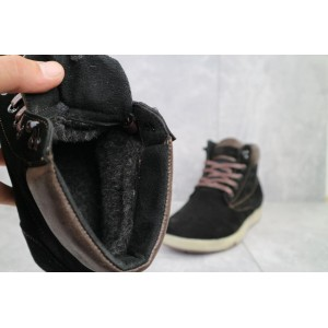Ботинки мужские Yuves 772 Chern черные (замша, зима)