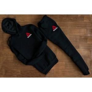 """Черный трикотажный костюм REEBOK с капюшоном (мелкий значёк) """""""" В стиле Reebok """""""" 1257"""