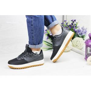Подростковые,женские кроссовки Nike Lunar Force LF-1,черные с серым