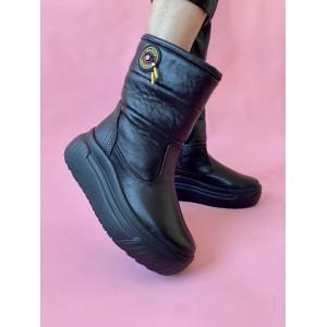 Женские ботинки кожаные зимние черные Best Vak БЖ33-01