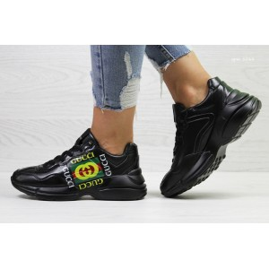 Модные женские кроссовки Gucci,черные