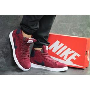 Высокие зимние кроссовки Nike Jordan замшевые,бордовые 42,44р