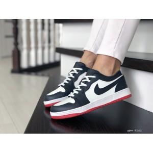 Женские кроссовки Nike Air Jordan 1 Low ,темно синие с белым