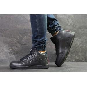 Высокие зимние кроссовки Nike Jordan,кожаные,синие