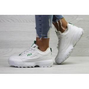 Женские зимние кроссовки Fila,белые с зеленым,на меху