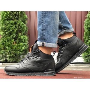 Высокие кожаные зимние кроссовки Reebok,черные