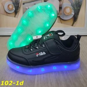 Детские кроссовки чёрные фила светящиеся с подсветкой Led 32-37р