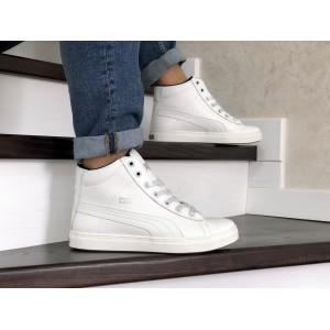 Высокие зимние кроссовки Puma Suede кожаные,белые