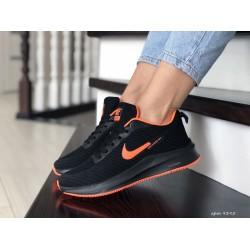 Кроссовки женские (подростковые) Nike Flyknit Lunar 3,черные с оранжевым