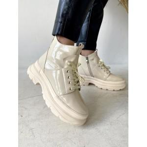 Женские ботинки кожаные зимние бежевые Vladeks 1379-3