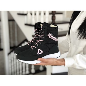 Высокие женские зимние ботинки Reebok,черно-белые