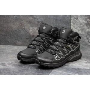 Высокие зимние мужские кроссовки Salomon X-Ultra,черные с серым,на меху
