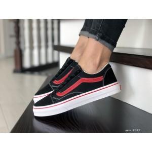 Женские кеды Vans,замшевые,черные с красным