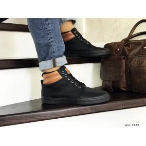 Мужские зимние ботинки кроссовки VINTAGE,черные,на меху