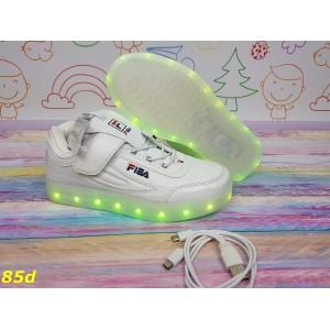 Детские кроссовки белые фила светящиеся с подсветкой Led подростковые 32-37р