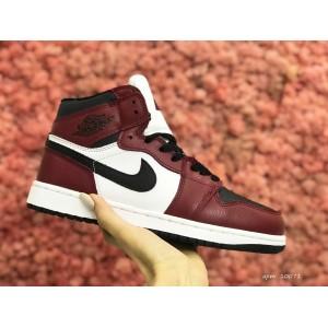 Высокие зимние подростковые кроссовки Nike Air Jordan 1 Retro,белые с бордовым