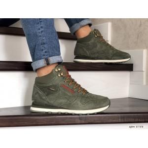 Мужские высокие зимние кроссовки Reebok,темно зеленые