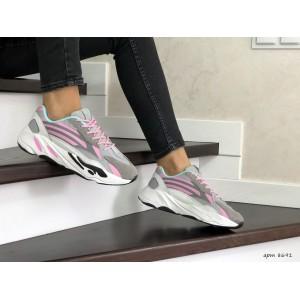 Женские кроссовки Adidas Yeezy Boost 700,серые с розовым
