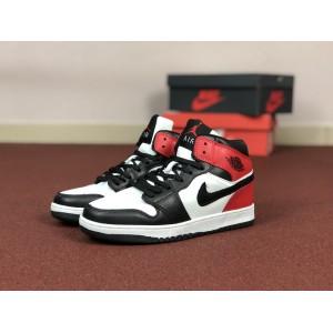 Мужские кроссовки Nike Air Jordan 1 Retro,белые с черным и красным