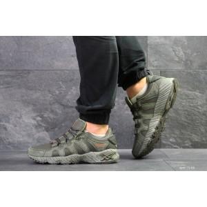 Мужские кроссовки Asics,замшевые,темно зеленые