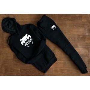 """Трикотажный чёрный костюм Venum с капюшоном (большое лого) """""""" В стиле Venum """""""" 1277"""