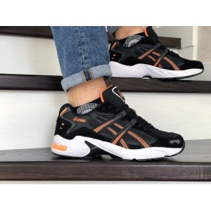 Мужские кроссовки Asics,замшевые,черно белые