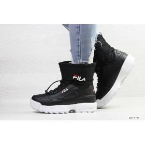 Зимние женские спортивные ботинки Fila,черно-белые 36,37р