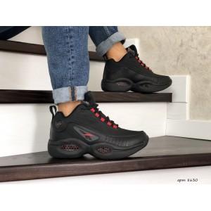 Высокие зимние кроссовки Reebok I3,черные с красным,на меху